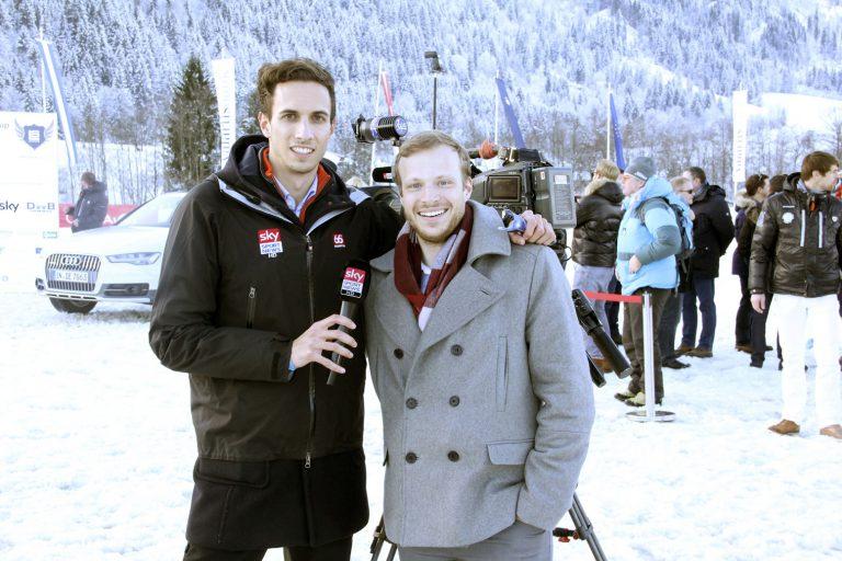 Sky Sport News HD Reporter Matthias Berger mit Sky Pressesprecher Damian Holmer