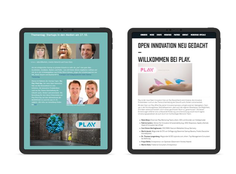 Aufruf zum Startup Pitch von Sky Play via Newsletter & Microsite