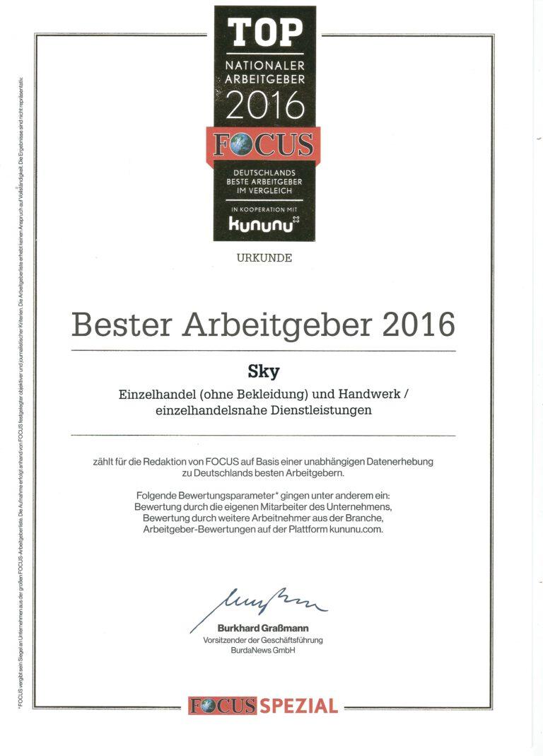 Auszeichnung Deutschlands beste Arbeitgeber 2016