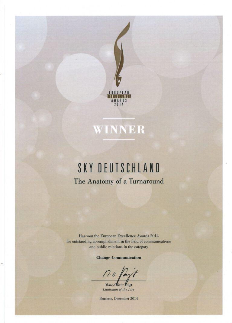 Auszeichnung Sky Turnaround